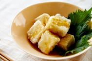 話題の高野豆腐でお出汁しみしみ揚げ出し豆腐。おつまみにも♪