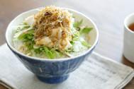 水菜と豆腐でヘルシー夜食メニュー♪「カリカリじゃこ茶漬け」